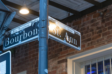 Bourbon Street Sign in New Orleans, the world famous Bourbon Street at French Quarter as party atmosphere.