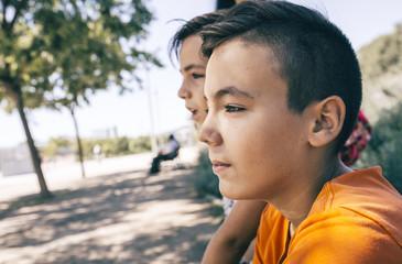 Green eyes boy looking at the camera