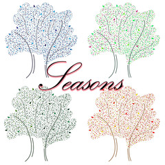 Hand-drawn illustration with seasons. An illustration for notebooks, cases for computers and phones, advertising.