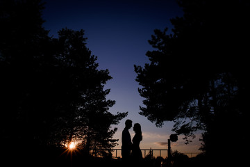 Silhouettes of a couple standing in the evening lights