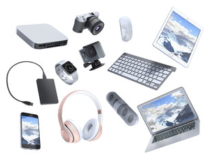 collection of consumer electronics flying in the air 3D render on white background