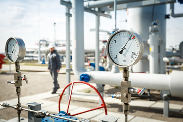 Gas manometer on a gas development plant