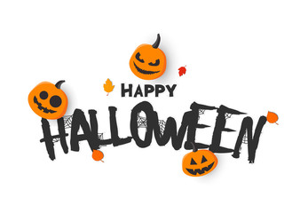 Happy halloween banner. Vector illustration with pumpkins. Trick or treat.