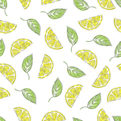 Hand drawn lemons pattern in retro style. Vector seamless background with lemon slices and leaves.