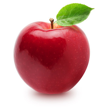 Isolated apple. Whole red, pink apple fruit with leaf isolated on white, with clipping path