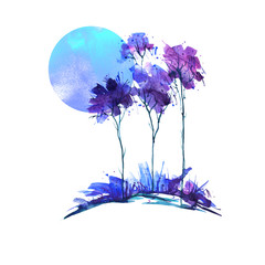 Blue, purple tree, bush watercolor. The blue moon, the full moon, the dawn. On an isolated white background. Ecological abstract art illustration. Abstract spots, shore,  watercolor landscape.
