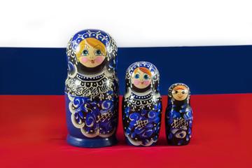 Russian Matryoshka nesting dolls on the Russian flag