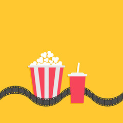 Popcorn box. Soda glass with straw. Film strip line. Cinema movie icon set in flat design style. Yellow background. Isolated.