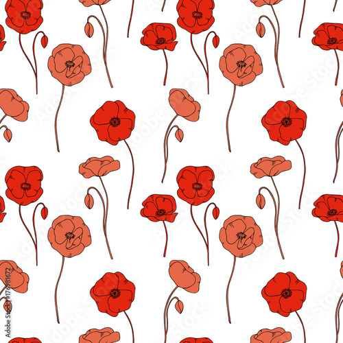 color vector simple illustration of decorative poppy flower pattern