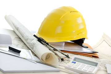 Close-Ups of Desk depicting different occupations professions: Architect / Construction / Engineer