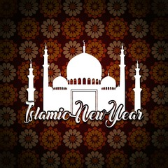Happy islamic new year with white mosque silhouette