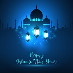 Happy islamic new year with silhouette mosque and blue shiny lantern