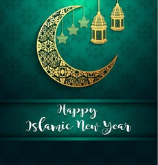 Shiny background with gold crescent moon and hanging lantern for celebration islamic new year
