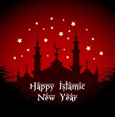 Happy islamic new year with silhouette mosque at night