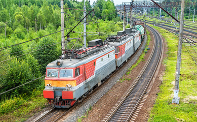 Freight train at Bekasovo-Sortirovochnoye station, the largest in Europe railway station. Moscow, Russia