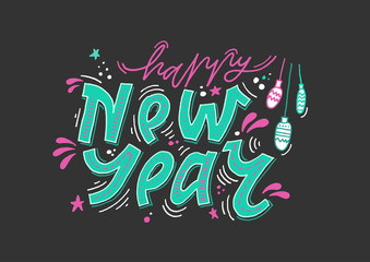 "Vector holiday lettering. Handwritten blue inscription ""Happy New Year"" with decorative elements on black background."
