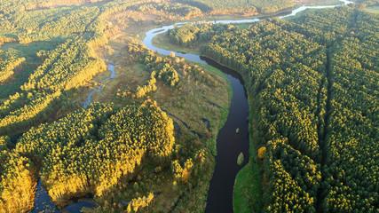 Spoed Foto op Canvas Khaki Aerial landscape of natural river