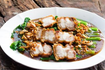 Thailand food ,Stir fry Kai Land and crispy pork