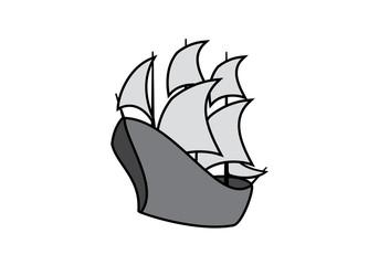 Sailing Boat vector. Old sailing ship. Sailing Boat vector icon