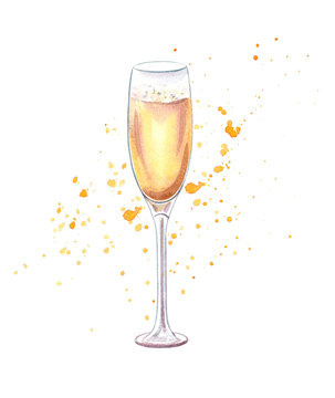champagne glass, watercolor painting of sparkling wine isolated on white background, champagne hand drawn image
