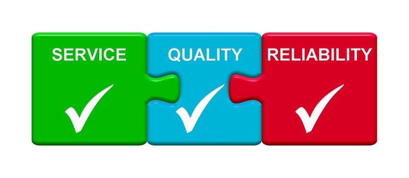 3 Puzzle Buttons zeigen Service Quality Reliability