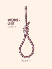 Hangman's noose. Rope knot vector illustration in vintage sketch style.