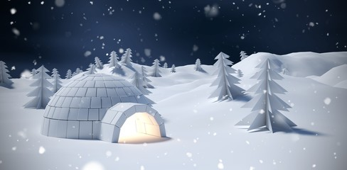Composite image of igloo and trees on snow field