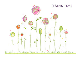 Spring time colorful elegant cute flowers. Spring floral background