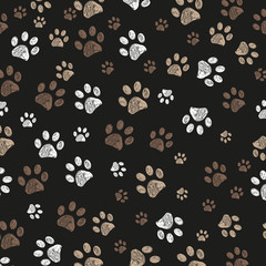 Doodle paw print brown colored with black background