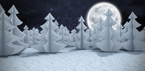 Composite image of digital generated image of christmas trees