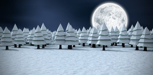 Composite image of christmas trees covered with snow