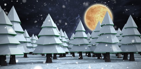 Composite image of snow covering christmas trees