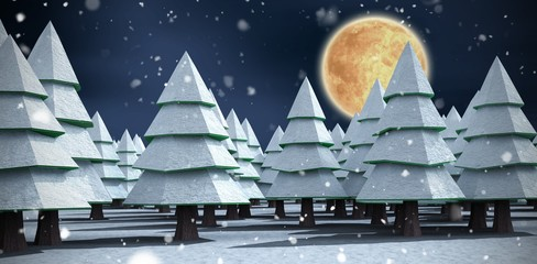Composite image of christmas trees on snowy field