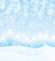 Vector winter holidays landscape background with trees, snowflakes and falling snow