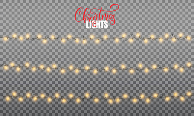 Christmas lights. Realistic string lights design elements of pink and yellow colors. Glowing lights for winter holidays. Shiny garlands for Xmas and New Year
