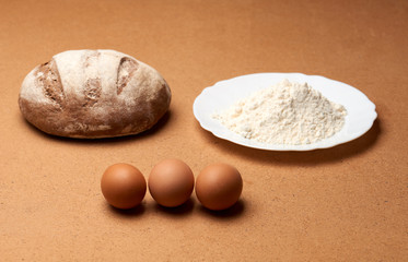 bread with flour and eggs
