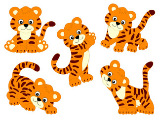 Vector Set of Cute Cartoon Tigers