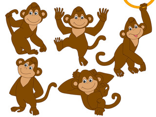 Vector Set of Cute Cartoon Monkeys