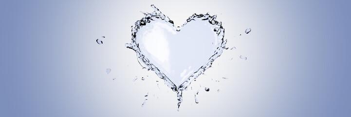 Liquid heart, love and feelings concepts, original 3d rendering