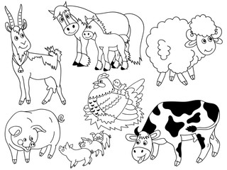 Vector Set of Farm Animals