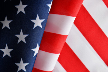 Closeup of American flag as background.