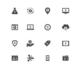 Set of bitcion vector solid icons. Contains such icons as Bitcion wallet, Security payment, Cloud, Cash out, Conversion, Coin and more.