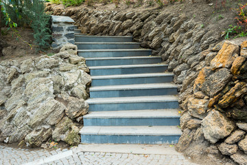 stone marble steps in landscape design