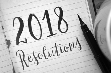 2018 RESOLUTIONS brush calligraphy in notebook