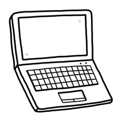 computer notebook / cartoon vector and illustration, black and white, hand drawn, sketch style, isolated on white background.