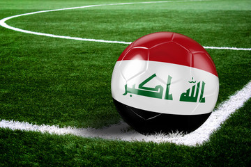 Iraq Soccer Ball on Field at Night