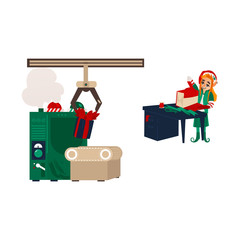 vector flat cartoon hand drawn christmas elf girl standing near table wrapping present box in holiday santa hat and gift factory mahine with conveyor belt. Isolated illustration on a white background