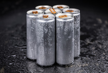 Portion of Energy Drinks, selective focus