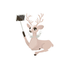 vector flat cartoon cute female christmas reindeer making selfie by selfie stick. Winter holiday deer animal simbol full lenght. Isolated illustration on a white background.