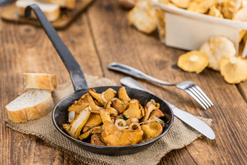 Portion of Fried Chanterelles, selective focus